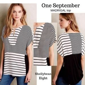 ANTHROPOLOGIE Madrigal Striped Top Blouse M NWT